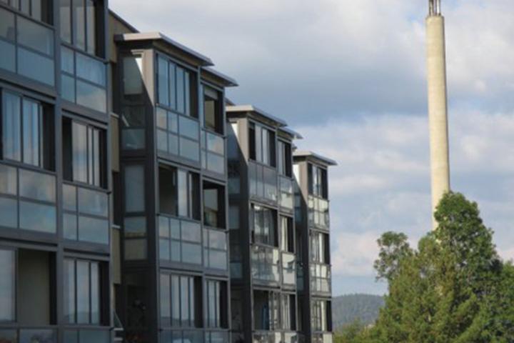 Fasadebilde boligblokker på Fjell