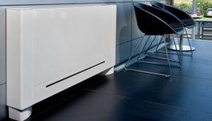 Olimpia Slimline viftekonvektor montert på møterommet