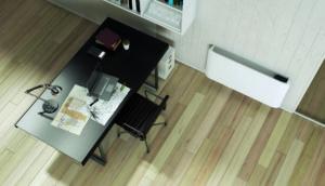 Olimpia Slimline viftekonvektor montert på kontoret